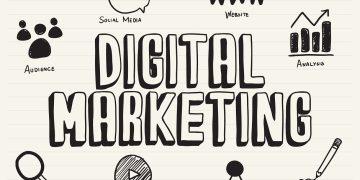 Digital marketing scribbled on a notepad